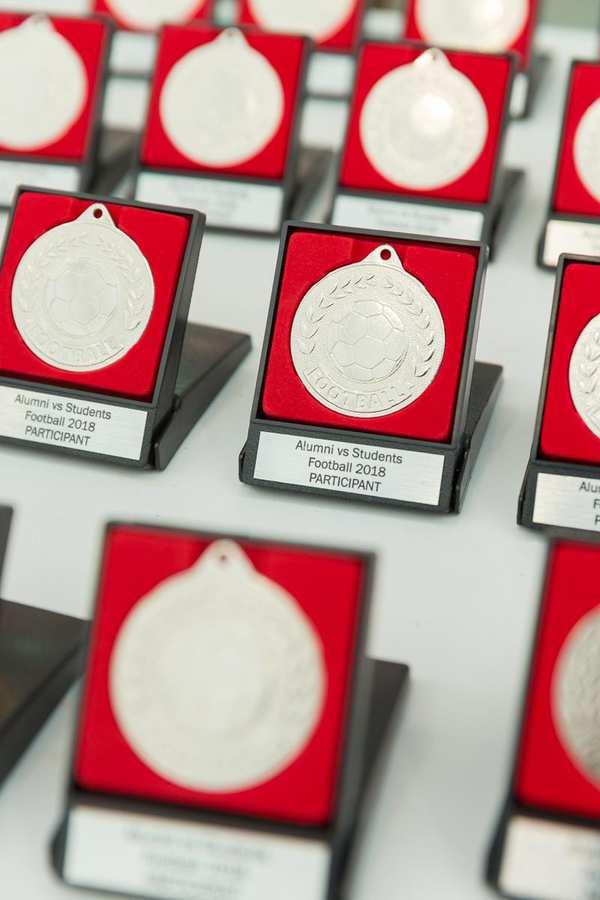inaugural alumni student footy tournament 2018 - participant medals