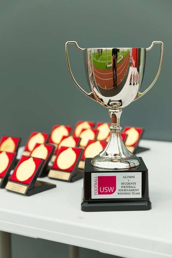 inaugural alumni student footy tournament 2018 - winners trophy