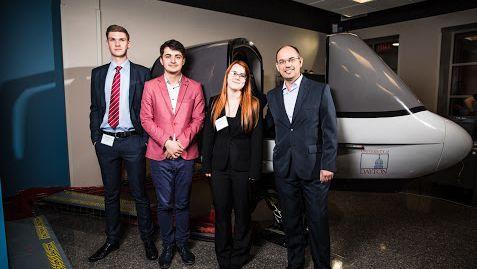 MENg Aeronautical Engineering students ames Shipway, Dragos Sovar, Brownen Hadden and Ilias Lappas