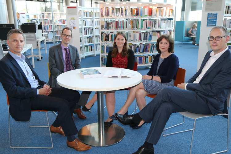 Stuart Marsh FCCA, owner of Marsh Vision; Jared Davies, Academic Manager for Professional Accounting & Finance at USW; Nicola Lloyd; Nicola Gilbert, ACCA Course Leader at USW; and Lloyd Powell, Head of ACCA Cymru Wales. Neil Gibson, July 2019