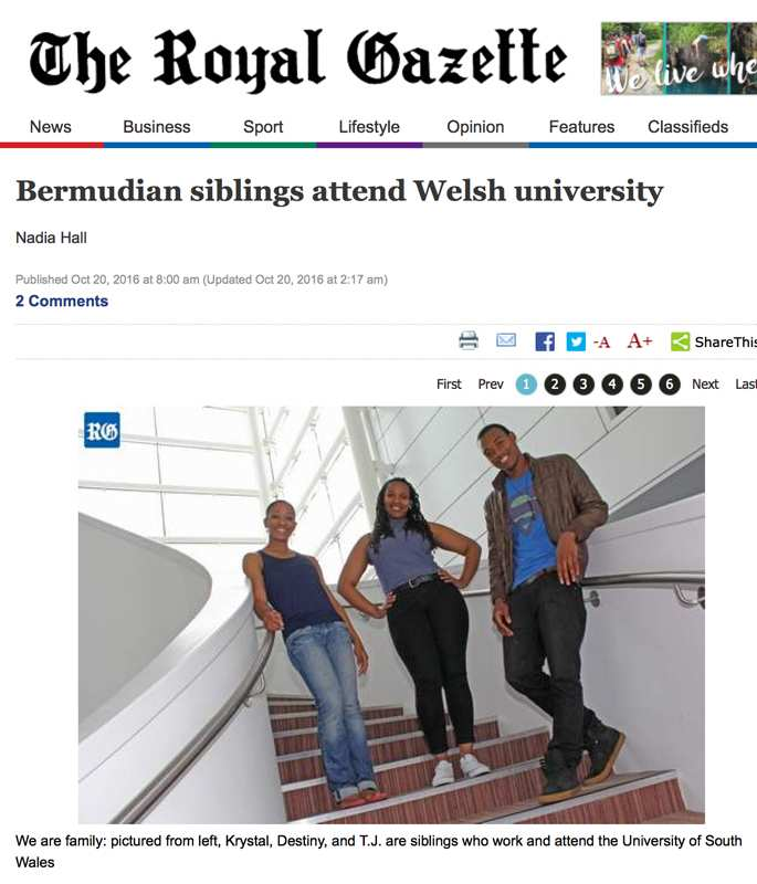 Aimee Herd's image was published in The Royal Gazette, Bermuda