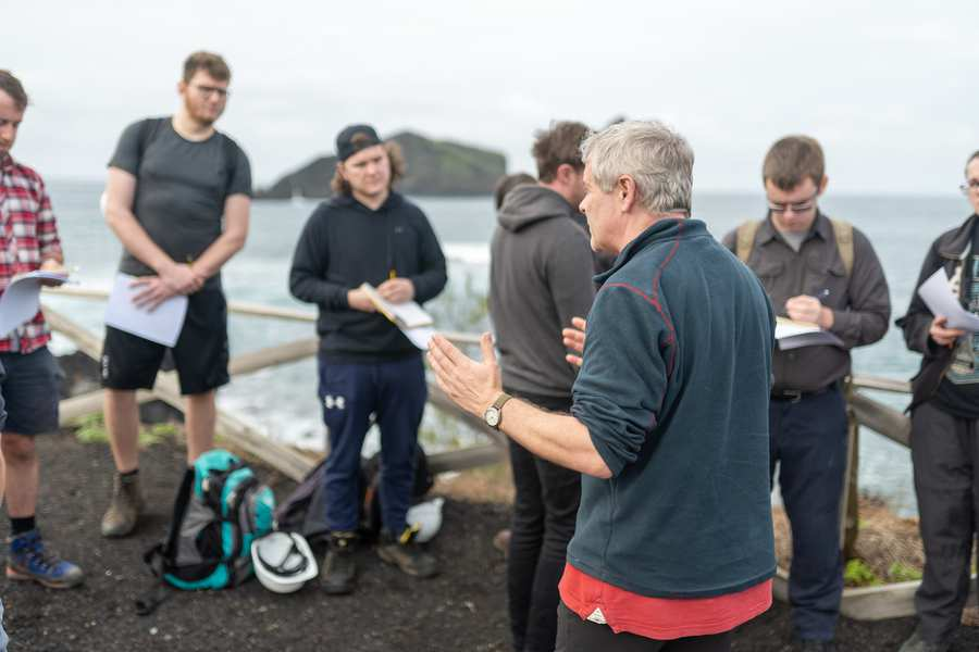 Research-active university - Associate Professor Duncan Pirrie teaches students on field trip to Azores