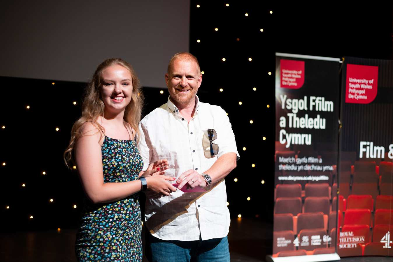 Belinda Humphries, Most Innovative 16-19 with Rich Moss, Managing Director of Gorilla. FTSW awards, July 2019