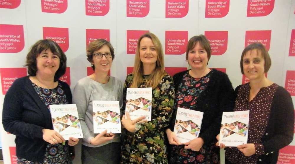 Catherine Jones, Rhiannon Packer, Claire Pescott, Amanda Thomas and Karen McInnes at the book launch. Teaching Early Years: Theory and Practice