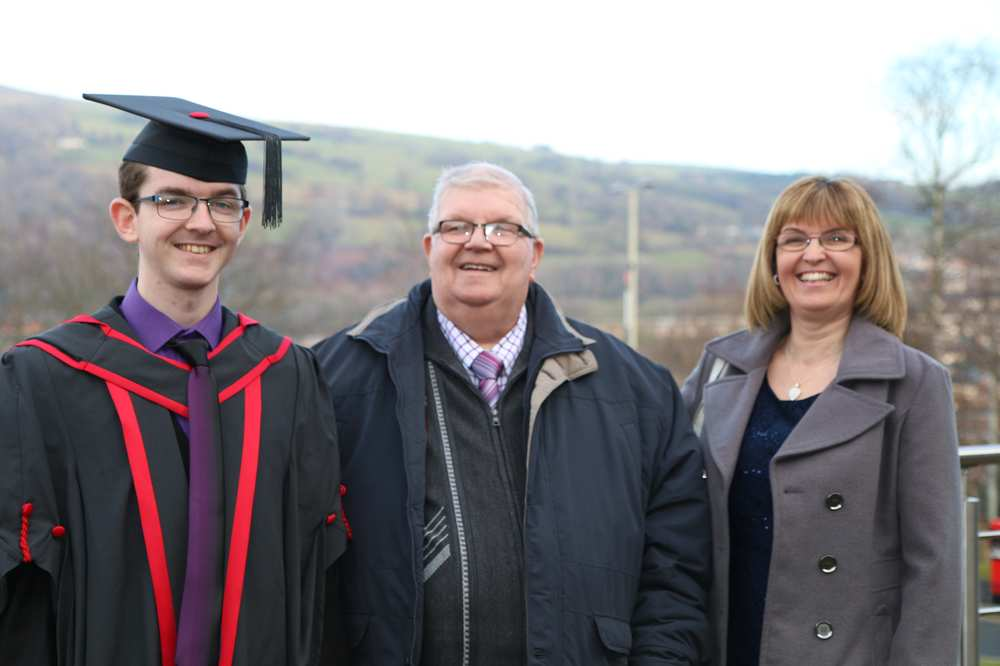 Ian Hopkins with grandad Kenneth Tilley and mum Carol, Ian became the third generation of his family to graduate from USW and previous colleges. Neil Gibson
