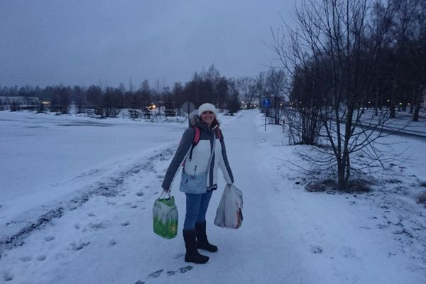 All stocked up from the local supermarket, a short snowy walk from our accommodation