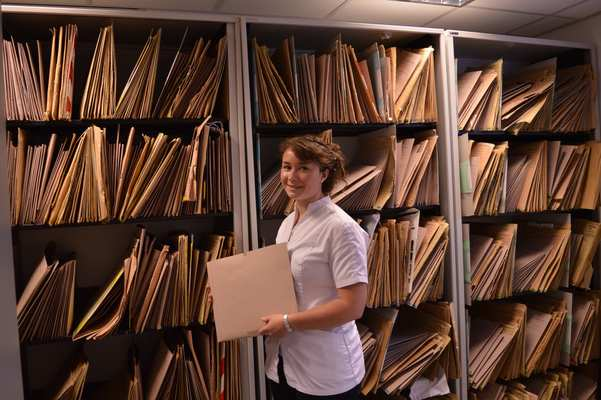 The records room is where we keep all the patient files. Records duty consists of pulling the files for the next clinic shift and making any new patient files. This allows the clinicians to pick them up without any fuss.