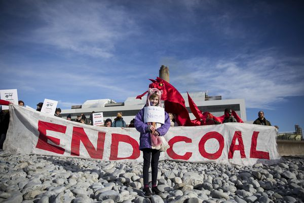 Climate change protestors call for the closure of Aberthaw coal power station
