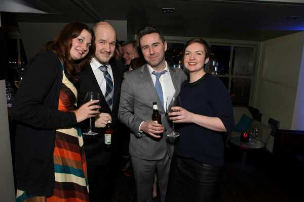 Curious Incident of the Dog In the Night-Time Press night 2013. Frantic Assembly team L-R Inga Hirst, Steven Hoggett, Scott Graham and Lisa Maguire.
