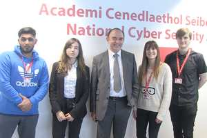 From left are students Ameir Hussain, Géo Savorgnan, Jade Jones and Anthony Parsons, with Lord Bourne (centre). Neil Gibson, November 2017