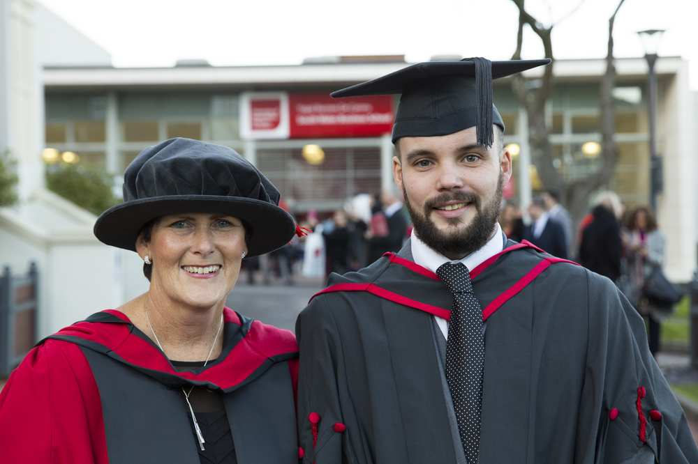 Dr Diana Callaghan, a senior research assistant, was last Friday awarded her PhD, while her son Ben was awarded a degree in Youth and Community Work at the University of South Wales (USW).. Neil Gibson, December 2017