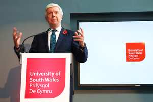 Tony Hall, Director-General of the BBC, opening the enhanced USW Cardiff Campus on November 1, 2016