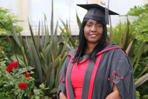 Elaine Phillips graduated this week from the University of South Wales (USW) with top marks, despite being diagnosed with dyslexia and a life-changing brain condition.. Neil Gibson