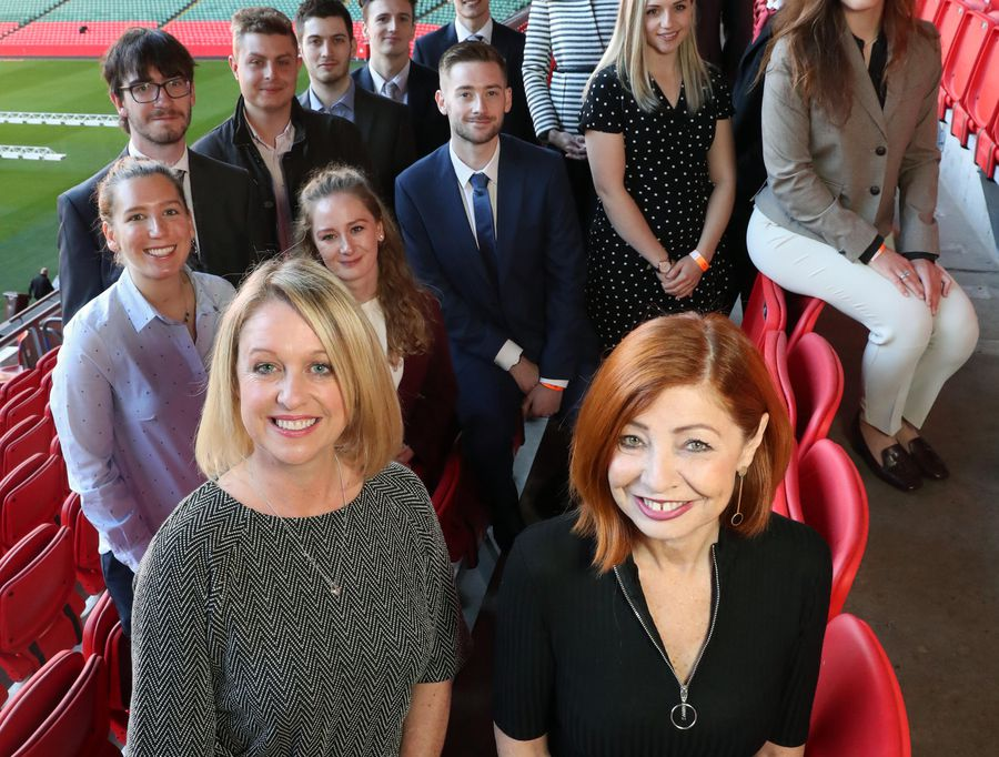 Rowena O'Sullivan and Sandra Busby, front, joined by the first graduates of the Welsh Data Science Graduate Programme. Neil Gibson, July 2018