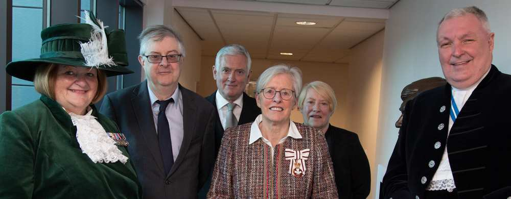 High Sheriff Tina Donnelly, First Minister Mark Drakeford; Dame Kate Thomas, Lord Lieutenant of Mid Glamorgan; Philip Evans, Under Sheriff of Mid Glamorgan; Mary Squire, Clerk to Lieutenancy, and Jon Wall; the previous High Sheriff. Neil Gibson, April 201