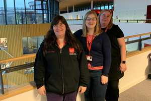 USW female cyber lecturers - Elaine Haigh, Rachael Medhurst, and Emma Derbi