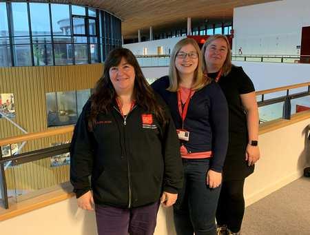 USW female cyber lecturers - Elaine Haigh, Rachael Medhurst, and Emma Derbi
