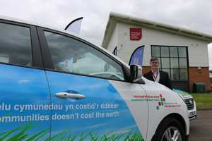 Jon Maddy, director of USW's Hydrogen Centre, at the launch of Mid and West Wales fire service's two new hydrogen-powered vehicles, Neil Gibson