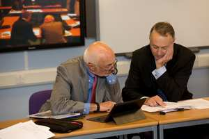 Ken Fields and Prof Robert Shawyer  Ken Fields, retired judge and aribitrator Prof Robert Shawyer Mock arbitration session for the MSc Dispute Resolution