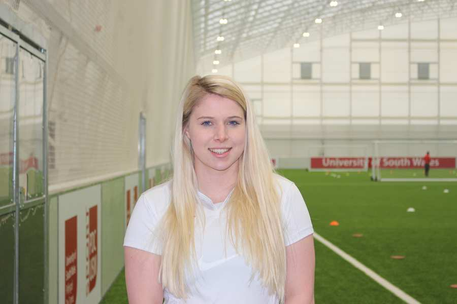 Lucy Stacey, womens football team, sport and exercise science student