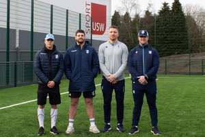 Cardiff Blues players at sport taster day