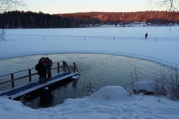 Ice swimming location at Aulanko in an outside temperature of -21 degrees celsius!