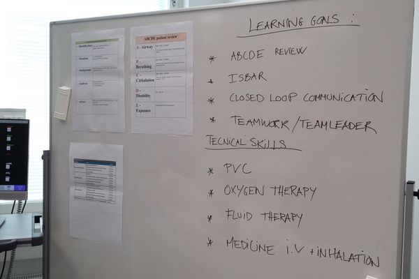 Clinical simulation information board detailing the Learning Goals for the scenario and the Technical Skills to be used during the simulation