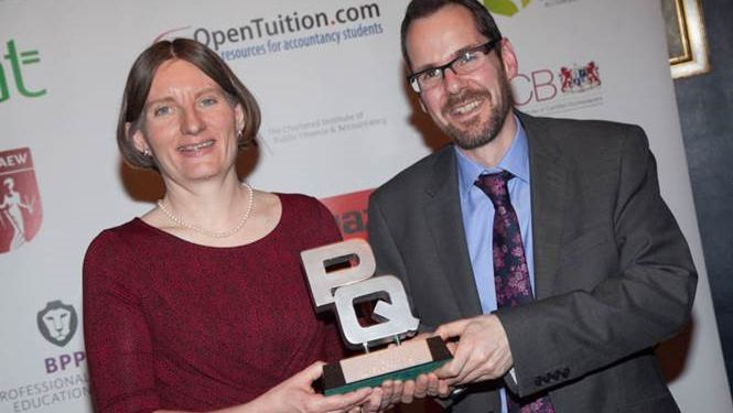 Jared Davies and Rosemary Eaton with their PQ Magazine Accountancy Award