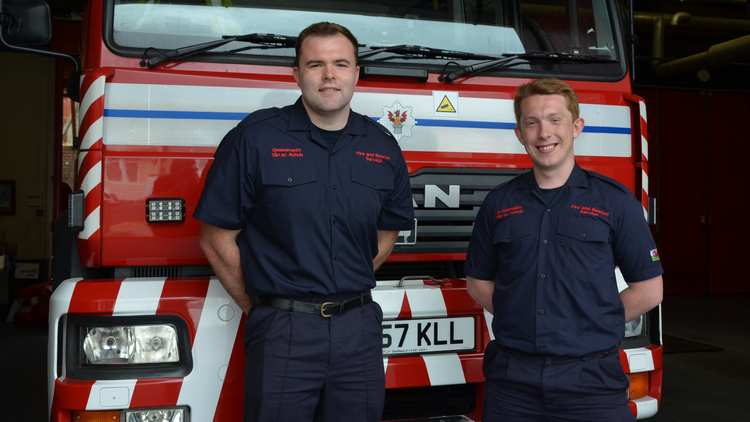Retained firefighters John Stowell, 23, from Haverfordwest, and Gareth Godwin, 21, from Pontypool, both graduating with 2:1 degrees. Neil Gibson