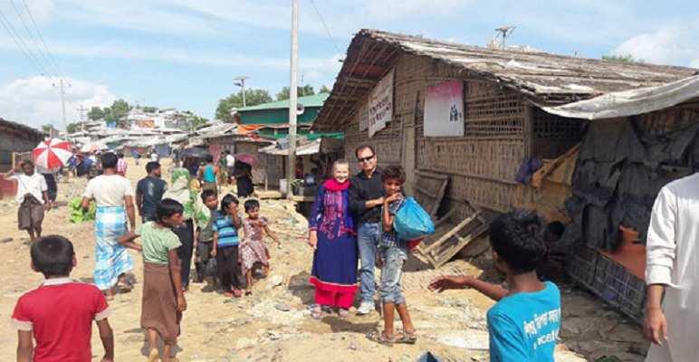 Prof Ali Wardak and Prof Kate Williams in Rohinga refugee camp