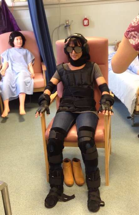 Lucy Owen. Trying out ageing suit at Glyntaff Clinical Simulation Suite. Neil Gibson