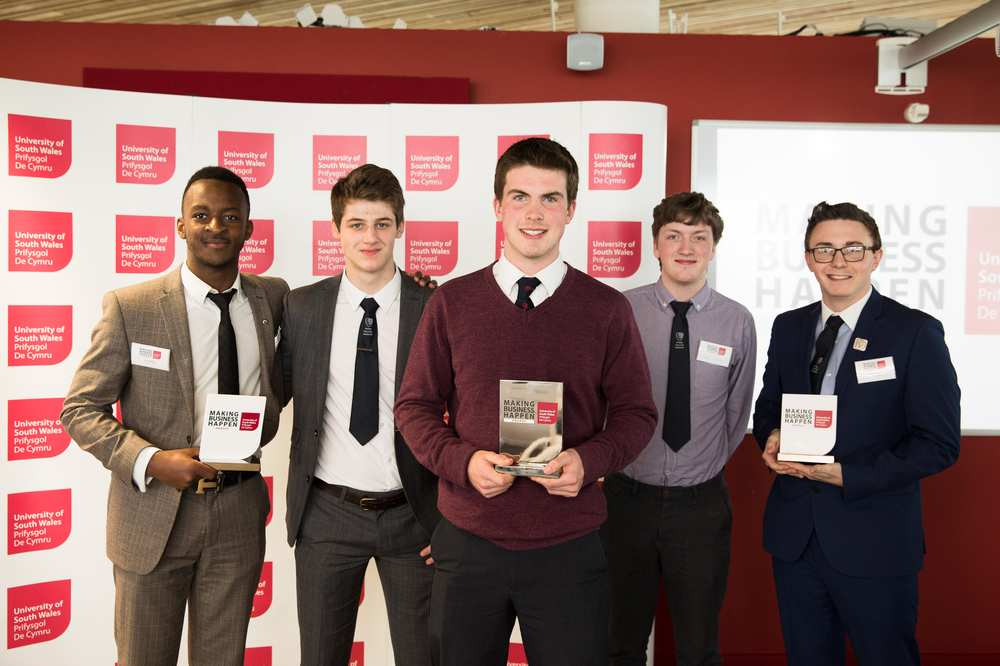 Making Business Happen award winners 2016 - From left – Third place Eric Bishyika, runner-up Jake Howell, winner Huw Richards-Price, and runners-up Charlie Sloan and Ben Manning.