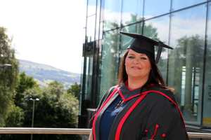 Melissa Haggett. Graduated from Events Management degree. First class honours. Neil Gibson