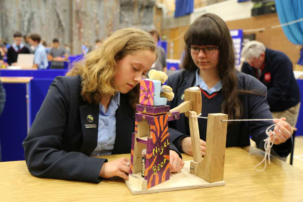 Iyesha Stacey and Sarah Moore  from Mendip Studio School in Writhlington, Bath, worked on the Ejector Seat Challenge.