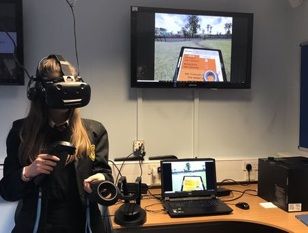 The VR system being used, and what users can see while using the technology. Neil Gibson, July 2018