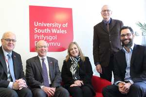 Guy Lacey, Principal of Coleg Gwent; Huw Williams, USW Deputy Vice-Chancellor; Beverly Owen, Head of Regeneration, Investment and Housing at Newport City Council; Stefan Sanchez and Alan Brown, both of Value People. Neil Gibson