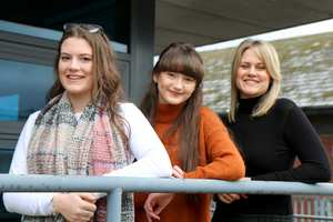 Interviewers Jessica Leishon and Jessica Griffiths, both 16, of Treorchy Comprehensive, with teacher Laura Clarke, from Bryntirion Comprehensive in Bridgend. Neil Gibson, March 2017