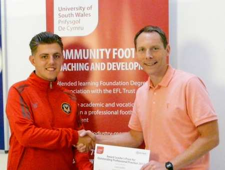 Liam Jenkins, Newport County with Jay Probert, course leader; 2017 USW/EFL Trust Student Awards