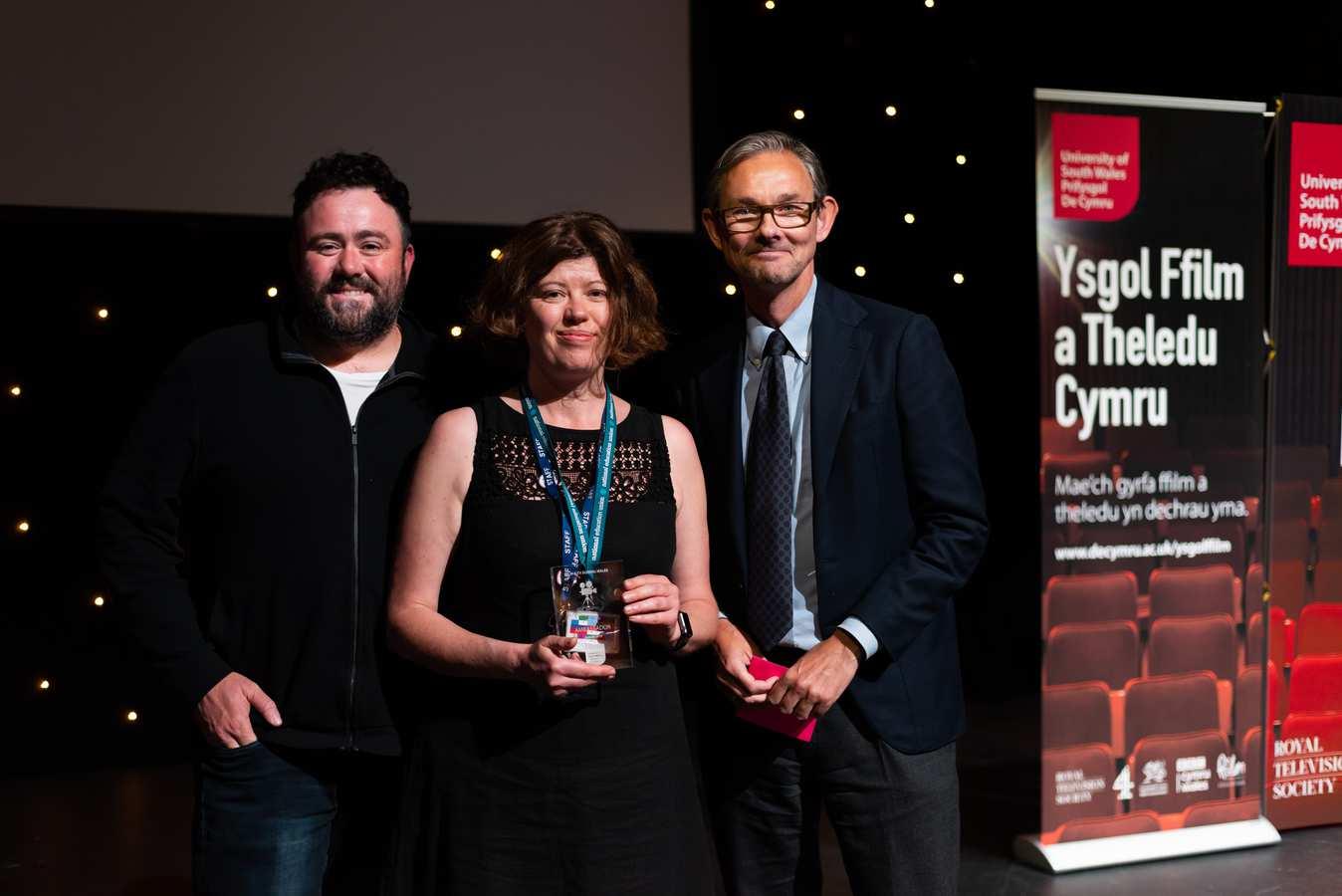 Paula Treweek, Film Ambassador Winner, with Into Film Ambassador Celyn Jones and Paul Reeve, CEO of Into Film. Neil Gibson, July 2019