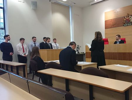 Policing students in the Moot Court for the press conference