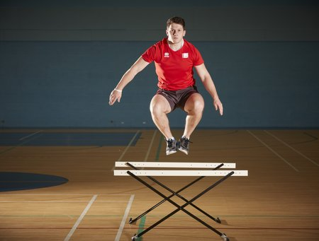 USW athletes utilise a range of plyometric exercises such as this hurdle jump in their training to develop this SSC capacity.