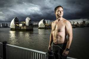Michael Ventre is swimming the Atlantic in 2017. he is being supported by USW sports psychologist David Shearer. Neil Gibson