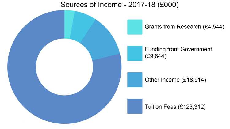 Sources of Income 17/18 - fees and funding