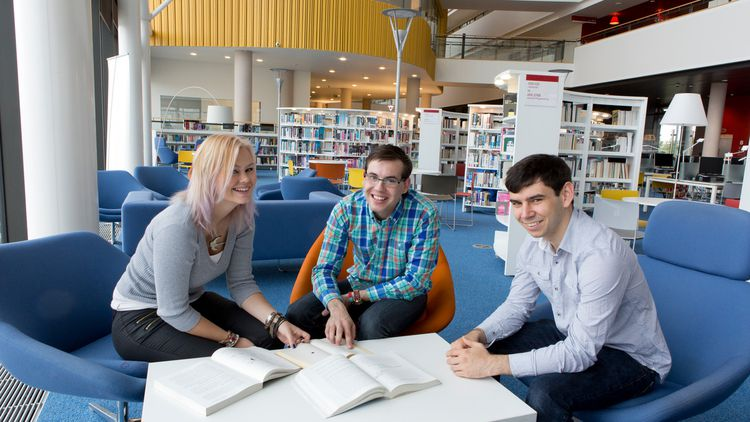 Students in Newport Library