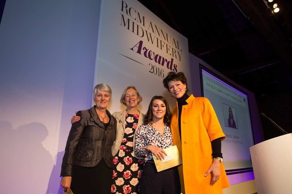 Graduate Jessica Laidlaw receiving runner-up Student Midwife Award from The Royal College of Mifwives