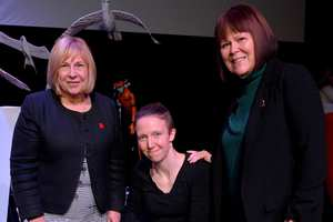 Professor Julie Lydon and Allison Dowzell with Emily Wright, a graduate who works for Bad Wolf in His Dark Materials