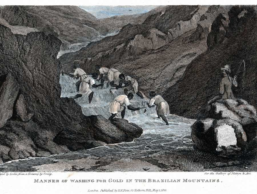 Slaves working in a gold mine in Brazil