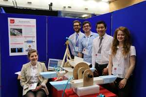 Engineering Showcase 2016, Stream Surfer, Sitting is Hilda Berge. Standing, from left, are Tom Newby, Sion Williams, Zhen Cherng Loa and Rowan Findler. Neil Gibson