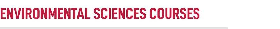 Environmental Sciences Courses Title
