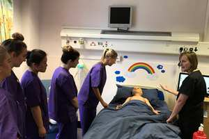 Child manikin being used to train USW student nurses. Neil Gibson, November 2018